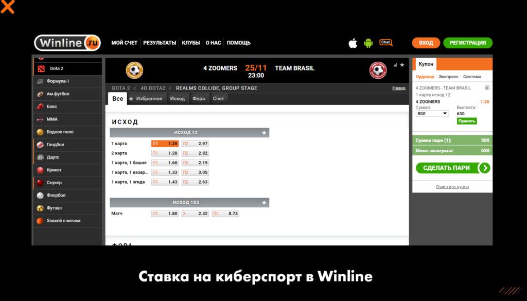Ставка на киберспорт в Winline