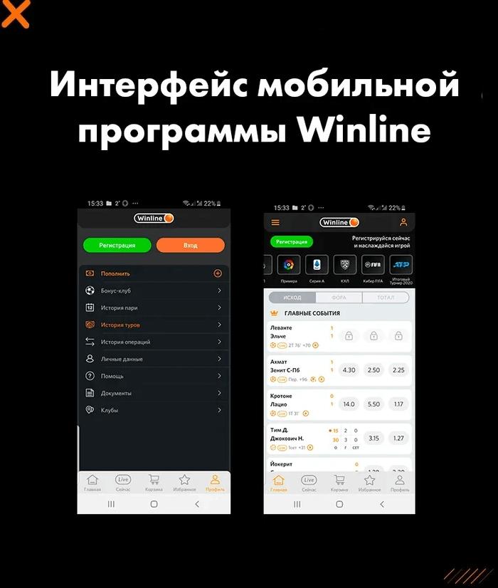 Интерфейс мобильной программы букмекера Winline