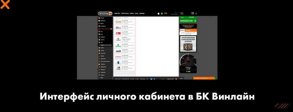Интерфейс личного кабинета в БК Винлайн