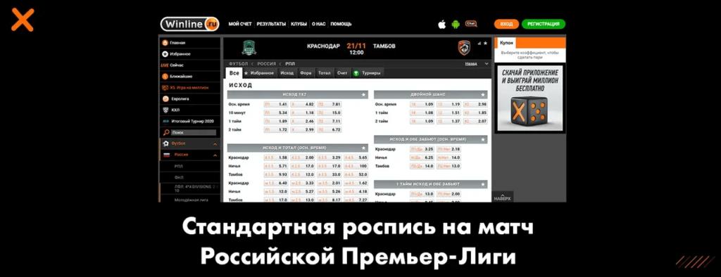 Стандартная роспись на матч Российской Премьер-Лиги